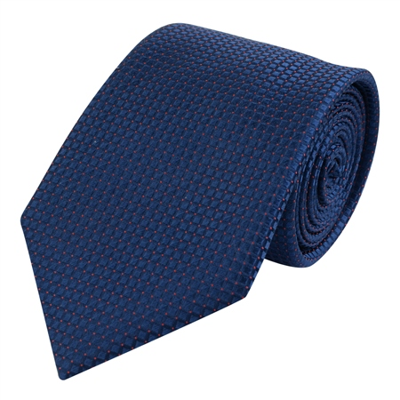 Navy Micro Design Silk Tie  - Click to view a larger image