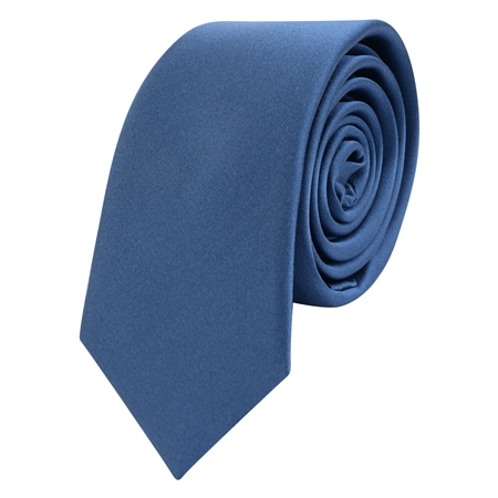 Navy Thin Satin Silk Tie  - Click to view a larger image