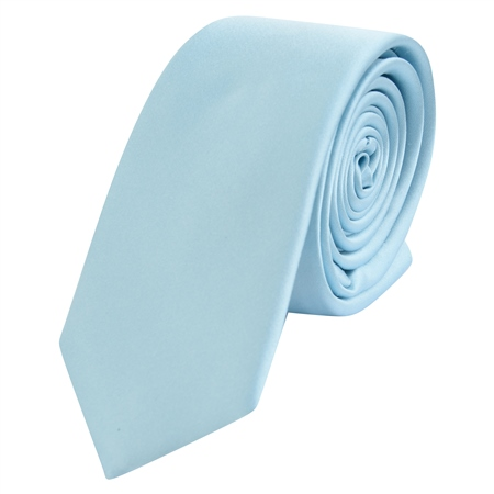 Pale Blue Thin Satin Silk Tie  - Click to view a larger image