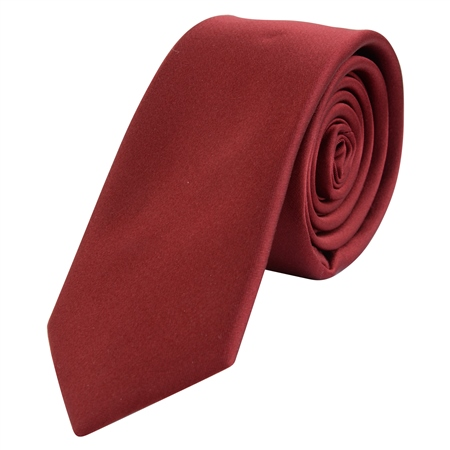 Wine Thin Satin Silk Tie  - Click to view a larger image
