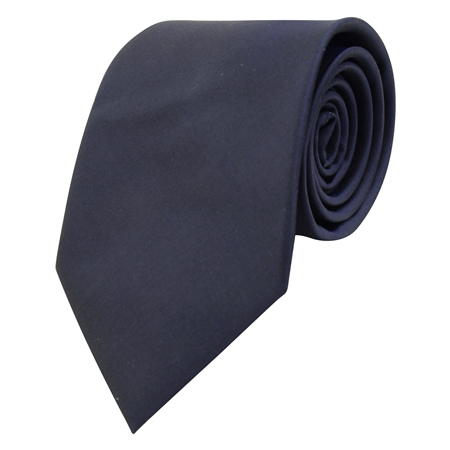 Navy Classic Plain Silk Tie  - Click to view a larger image