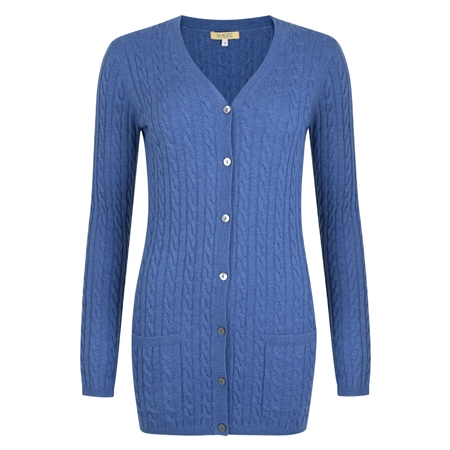 Blue Cashmere Blend Julie Boyfriend Cardigan  - Click to view a larger image