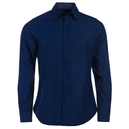 Navy Glencoagh Concealed Button Down Tailored Fit Shirt  - Click to view a larger image