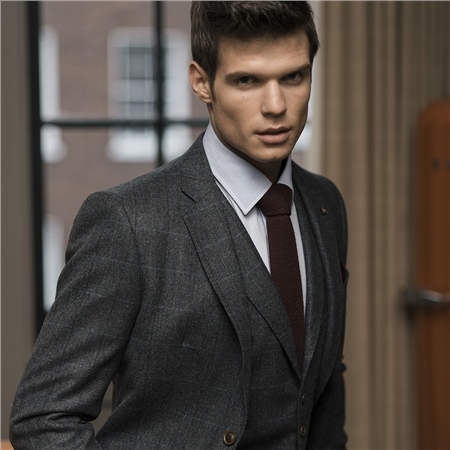 Fine Donegal Tweed Charcoal 2-Piece Classic Fit Suit   - Click to view a larger image