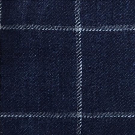 Luxury Navy Blue & White Over Check Linen & Silk Fabric  - Click to view a larger image