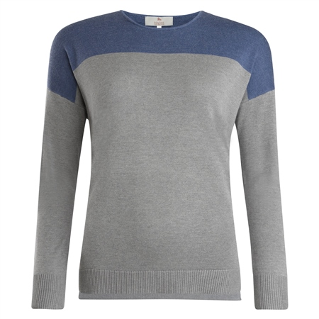 Paloma Grey & Blue Silk Blend Classic Fit Sweater  - Click to view a larger image