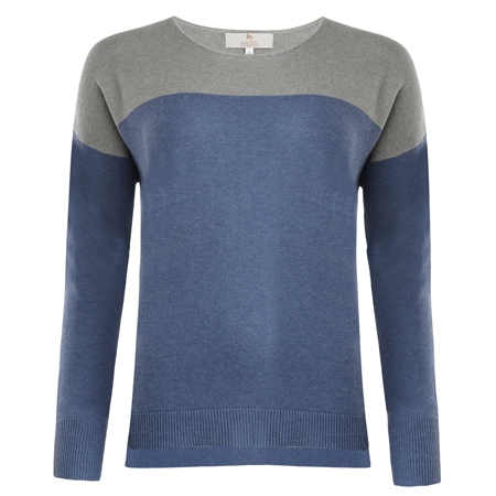 Paloma Blue & Grey Silk Blend Classic Fit Sweater  - Click to view a larger image
