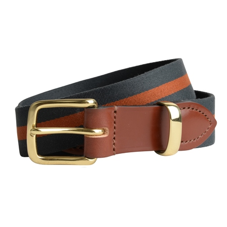 Bredon Luxury Navy & Orange Belt  - Click to view a larger image