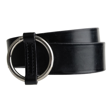 Luxury Leather Black Ring Belt  - Click to view a larger image