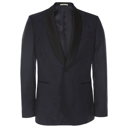 Navy Shawl Collar Dinner Suit Tailored Fit Blazer  - Click to view a larger image