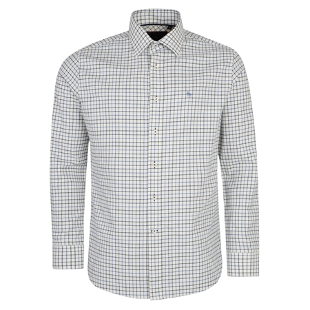 Cream, Blue & Navy Ardara Tattersall Checked Classic Fit Shirt  - Click to view a larger image