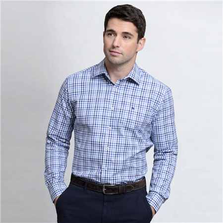 Blue & White Knockfola Checked Classic Fit Shirt  - Click to view a larger image