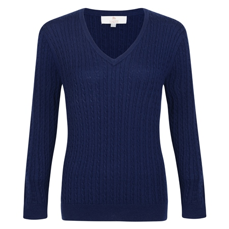 Midnight Blue Cable Knit V-Neck Jumper  - Click to view a larger image
