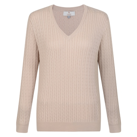 Review Oat Cable Knit V Neck Jumper Magee 1866 Reviews