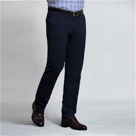 Navy Braide Washed Look Slim Fit Trousers  - Click to view a larger image