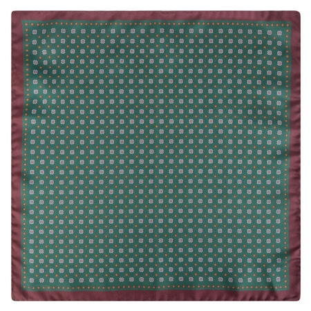 Green & Brown Micro Design Pocket Square  - Click to view a larger image