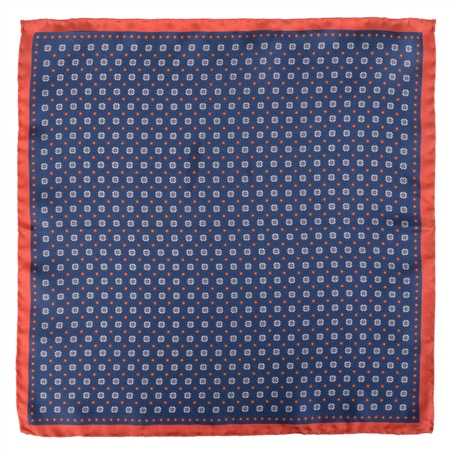 Blue Micro Design Silk Pocket Square  - Click to view a larger image