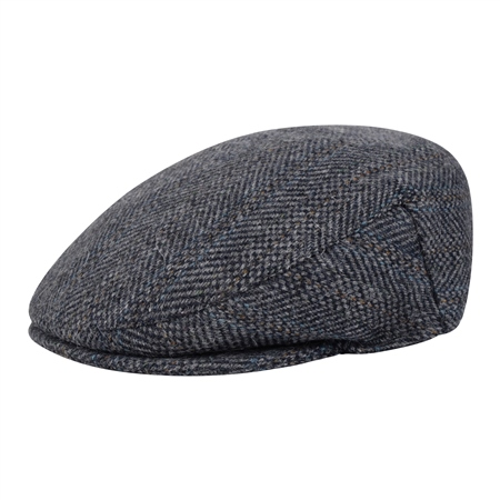 Blue Herringbone Donegal Tweed Cap  - Click to view a larger image