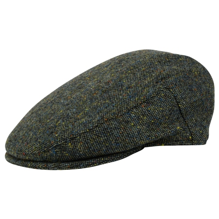 Green Salt & Pepper Donegal Tweed Cap   - Click to view a larger image