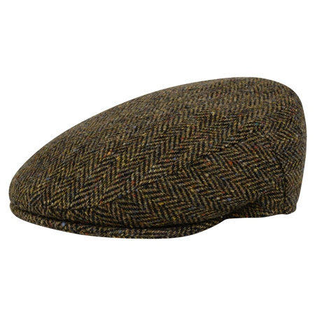 Green Herringbone Donegal Tweed Cap  - Click to view a larger image