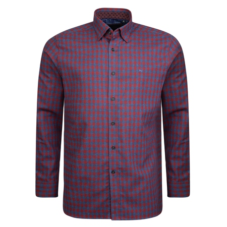 Burgundy & Blue Checked Concealed Button Down Classic Fit Shirt  - Click to view a larger image