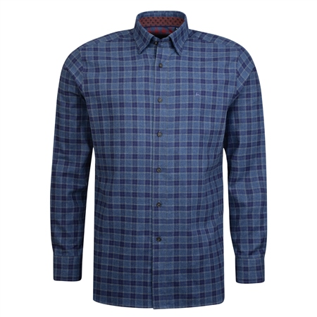 Blue Checked Concealed Button Down Classic Fit Shirt  - Click to view a larger image