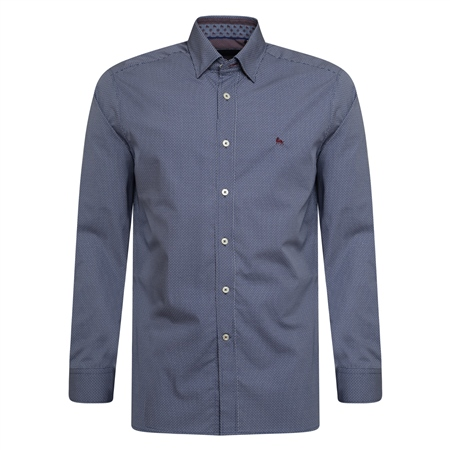 Blue Geometric Print Concealed Button Down Classic Fit Shirt  - Click to view a larger image