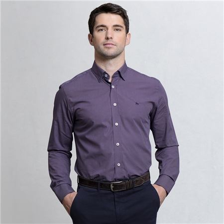 Plum Geometric Print Concealed Button Down Classic Fit Shirt  - Click to view a larger image