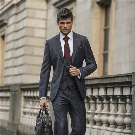 Magee 1866 - Grey & Raspberry Overcheck 3-Piece Tailored Fit Suit