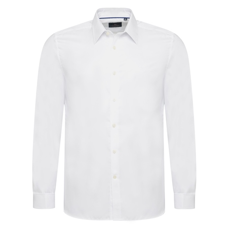White Cotton Twill Double Cuff Formal Classic Fit Shirt  - Click to view a larger image