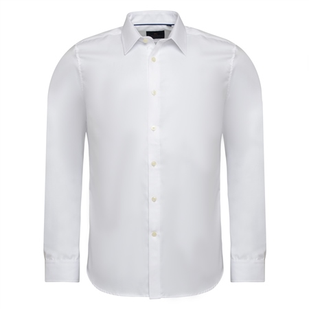 White Formal Cotton Twill Tailored Fit Dress Collar Shirt  - Click to view a larger image