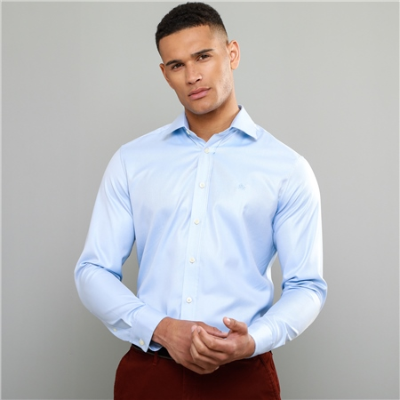 Blue Formal Tailored Fit Dress Collar Shirt  - Click to view a larger image