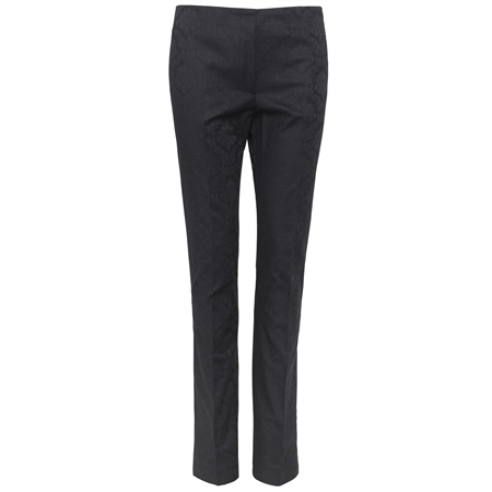 Navy Jacquard Print Tailored Fit Fahan Trousers  - Click to view a larger image
