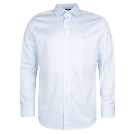 Blue Formal Twill Stripe Dress Collar Classic Fit Shirt  - Click to view a larger image
