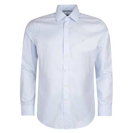 Blue Formal Twin Check Dress Collar Classic Fit Shirt  - Click to view a larger image