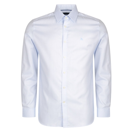 Blue Formal Micro Design Dress Collar Tailored Fit Shirt