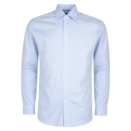 Blue & White Pin Check Dress Collar Classic Fit Shirt  - Click to view a larger image