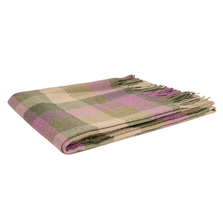 Pink, Green & Oat Patchwork Throw  - Click to view a larger image