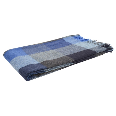 Blue/Navy/Grey Patchwork Throw  - Click to view a larger image