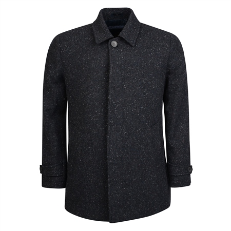 Charcoal Salt & Pepper Edergole Donegal Tweed Coat  - Click to view a larger image