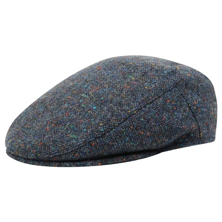 Blue Salt & Papper with Coloured Fleck Donegal Tweed Cap  - Click to view a larger image
