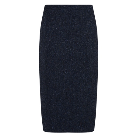 Navy Salt & Pepper Donegal Tweed Dana Skirt  - Click to view a larger image