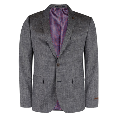 Grey & Navy Checked 3-Piece Tailored Fit Suit  - Click to view a larger image
