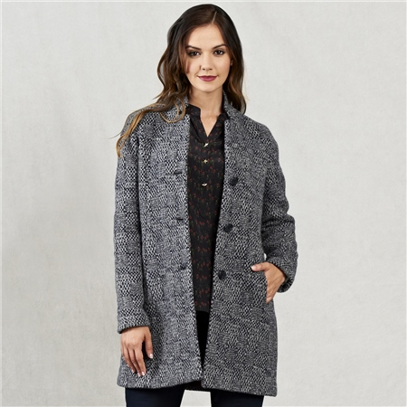 Charcoal Olivia Donegal Tweed Coat  - Click to view a larger image