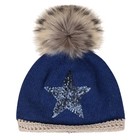 Blue Sequinned Star Beanie  - Click to view a larger image