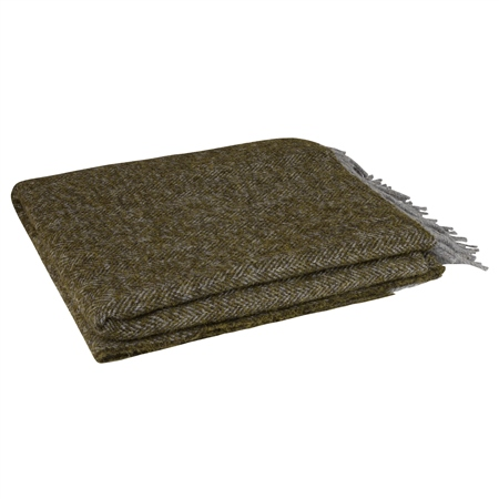 Olive Boucle Throw  - Click to view a larger image
