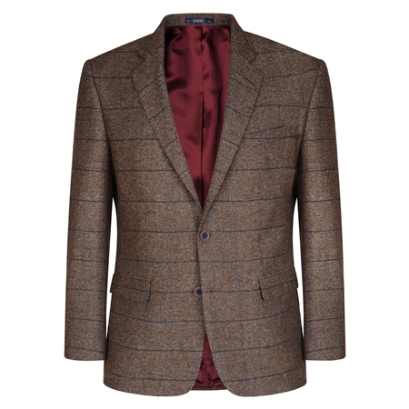 Brown Herringbone Checked Classic Fit Blazer  - Click to view a larger image