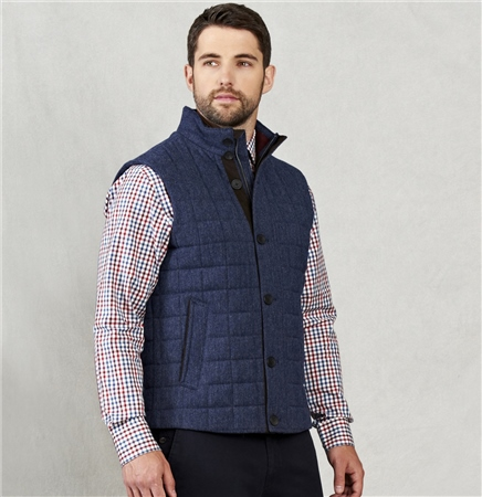 Blue Salt & Pepper Donegal Tweed Haugh Gilet   - Click to view a larger image