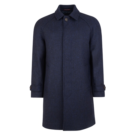 Navy Donegal Tweed Erne Raglan Overcoat  - Click to view a larger image