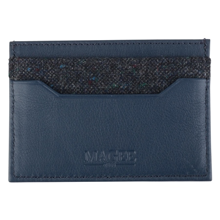 Blue Salt & Pepper Donegal Tweed Leather Card Holder  - Click to view a larger image